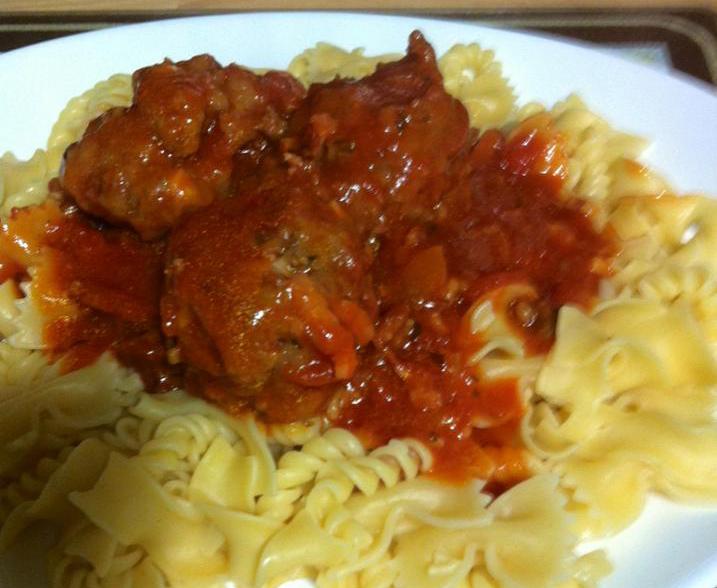 Homemade beef meatball and tomato sauce
