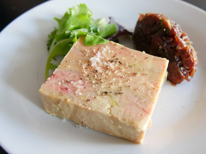 Chunk of goose liver with figs
