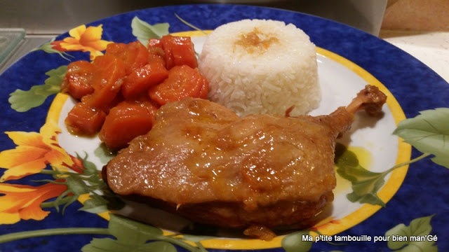 Orange duck thigh and carrots