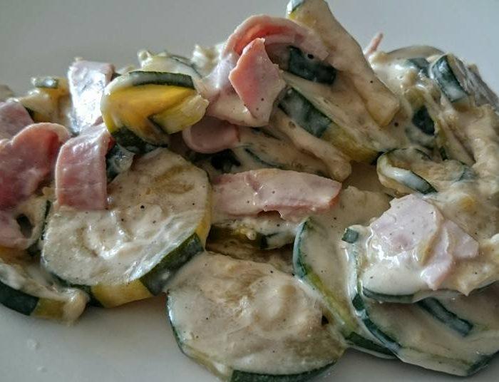 Zucchini in a carbonara style