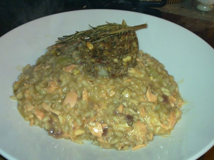Risotto with smoke trout